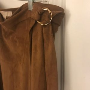 Michael kors brown suede midi skirt